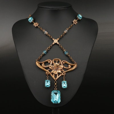 Art Nouveau Rhinestone Lavalier Necklace