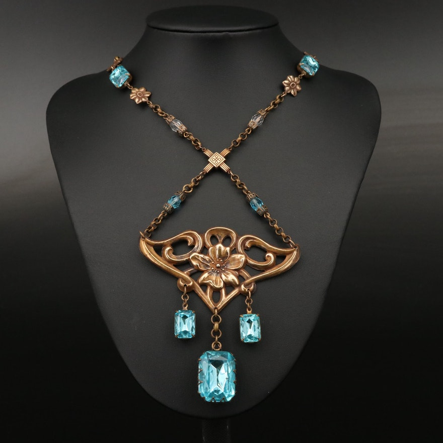 Art Nouveau Rhinestone Lavalier Necklace