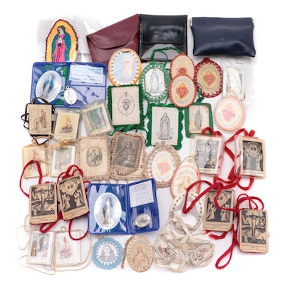 Catholic Scapulars, Medals and Other Items, Early to Mid-20th Century