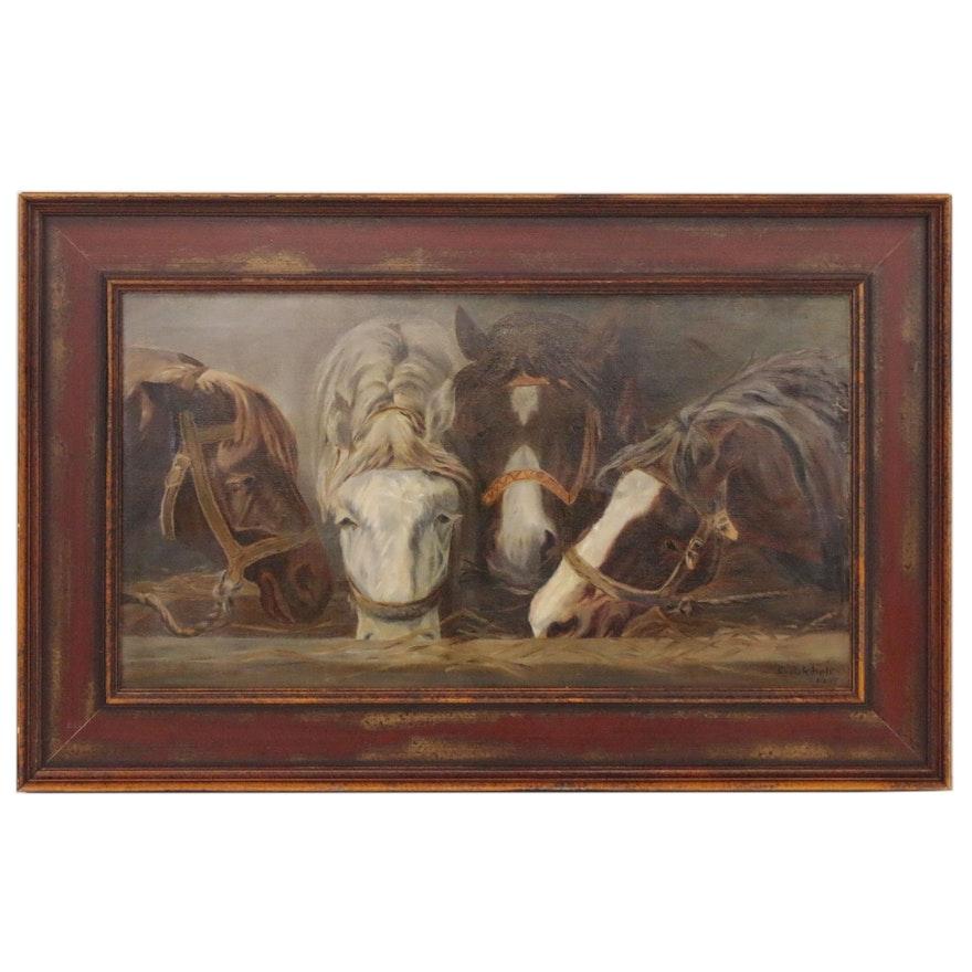 Equine Trough Scene Oil Painting, 1905