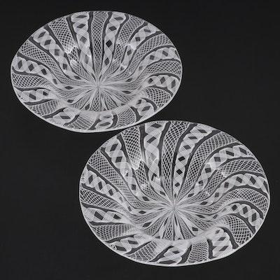 Murano Style Blown Art Glass Filigrana and Reticello Decorative Bowls