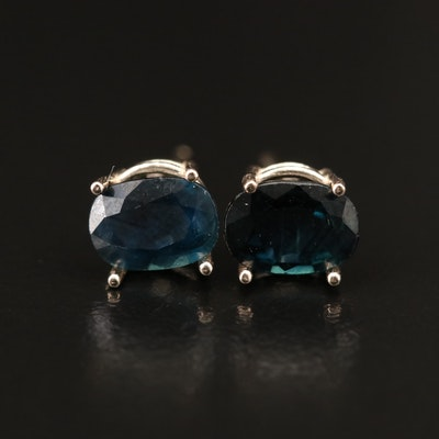 14K Oval Faceted Sapphire Stud Earrings