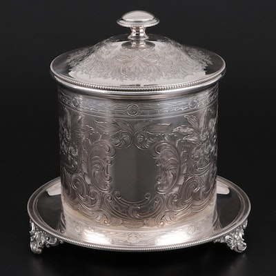 Hawksworth, Eyre & Co. of Sheffield Chased Silver Plate Biscuit Barrel, c. 1900