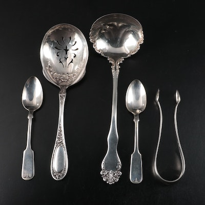 Danish Sterling Silver Sugar Tongs and Other Silver Plate Utensils