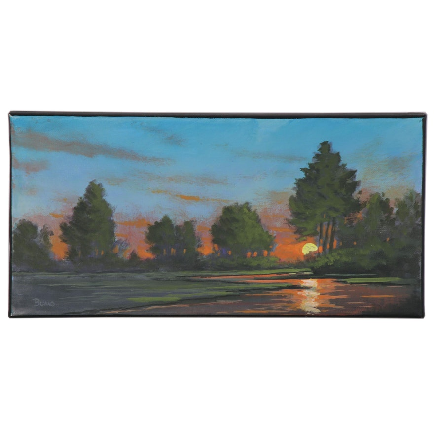 "Douglas Johnpeer Oil Painting ""Creek Light,"" 2020"