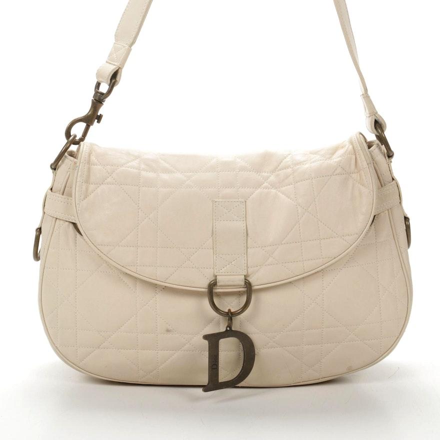 Christian Dior Flap Front Shoulder Bag in Beige Lady Dior Matelassé Leather