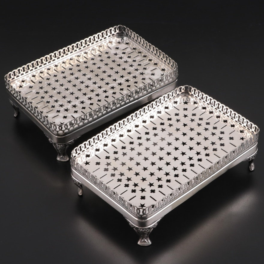 Gotham Silver Co. Silver Plate Footed Gallery Trays, c. 1920-1950