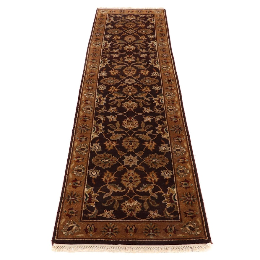 2'5 x 9'9 Hand-Knotted Indo-Persian Tabriz Carpet Runner, 2000s