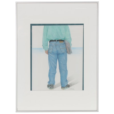 Pastel and Wash Drawing of Man in Blue Jeans, Late 20th Century