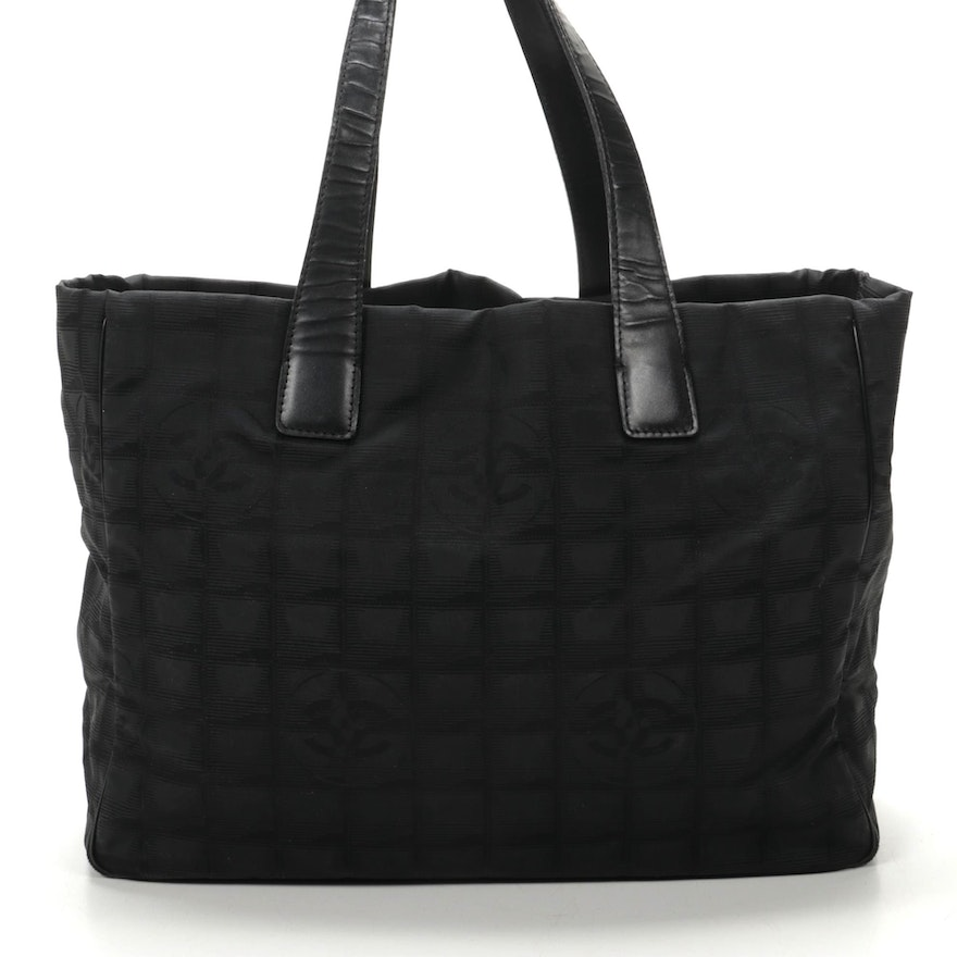 Chanel Travel Line Tote in Black CC Nylon Jacquard and Leather