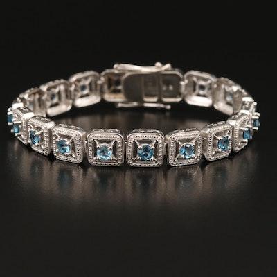 Sterling Topaz Square Link Bracelet