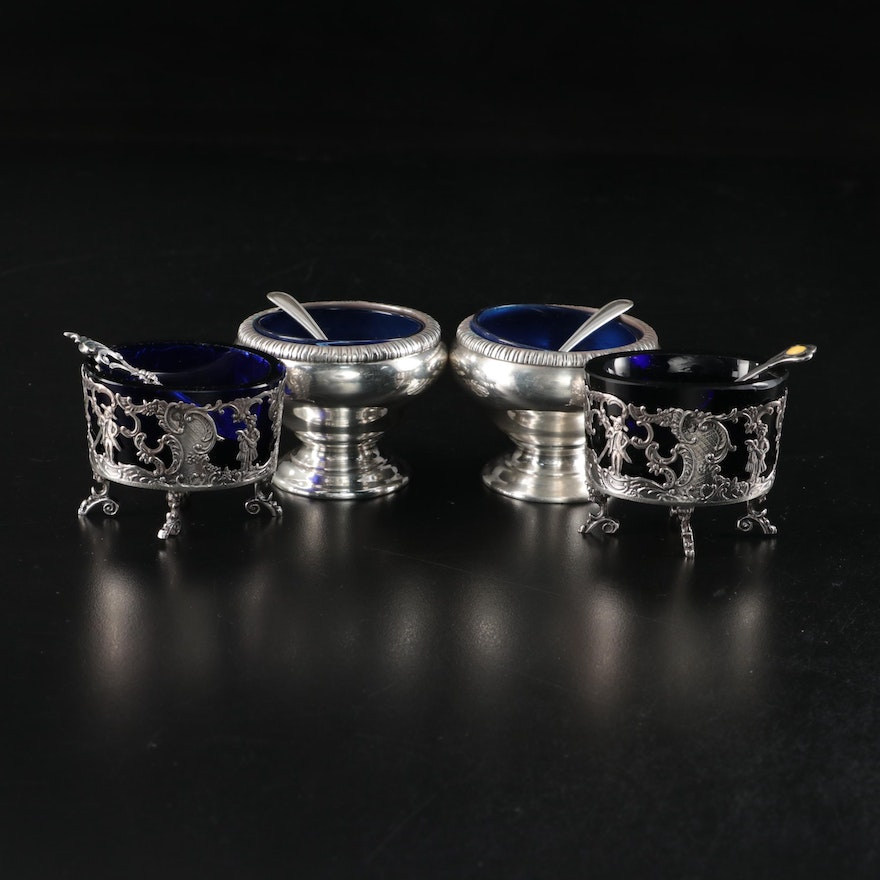 English and American Sterling Silver and Cobalt Glass Salt Cellars
