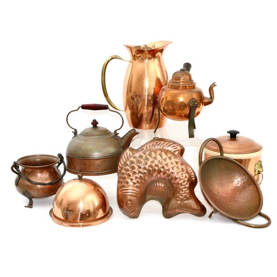 Copper Kitchenware Including Tagus and Coppercraft Guild
