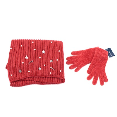 Charter Club Charm Embellished Red Knit Scarf with Chenille Gloves