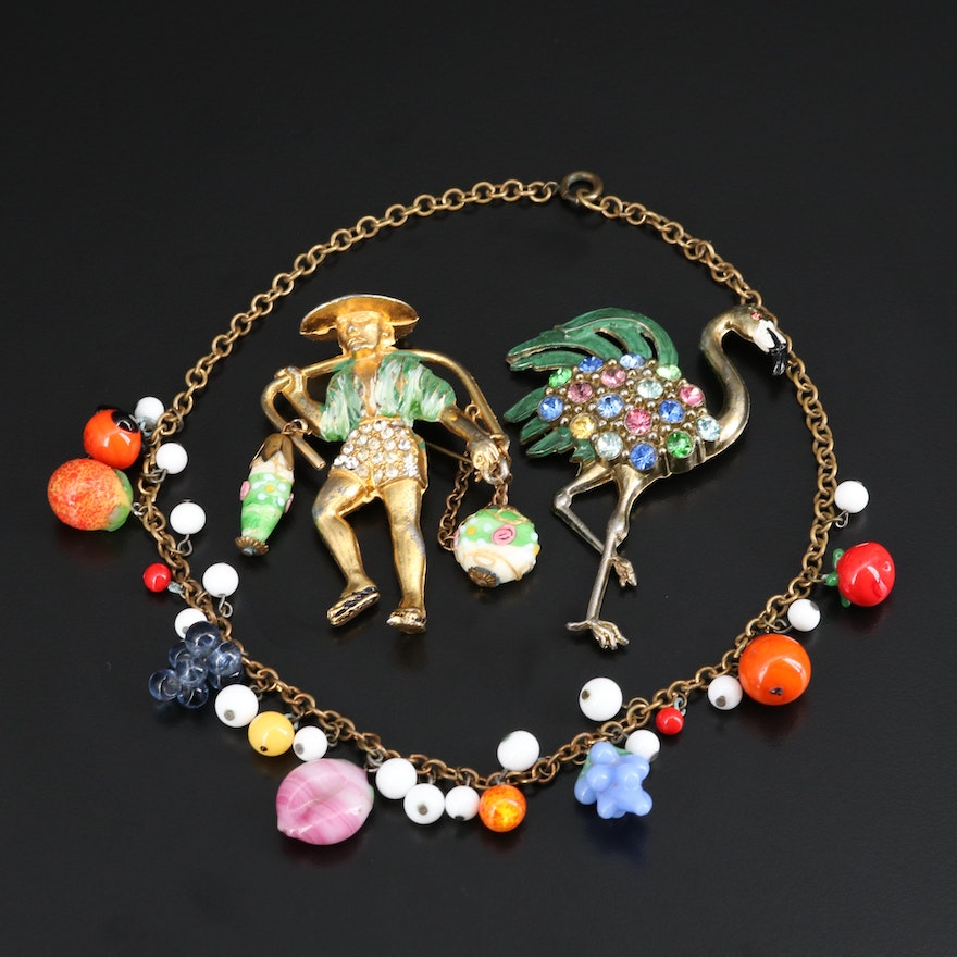 1940s Fruit Themed Necklace, Figural and Flamingo Brooches