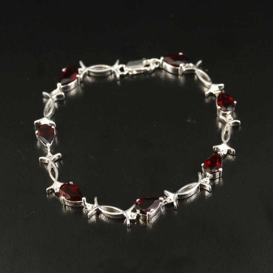 Sterling Garnet Crossover Link Bracelet