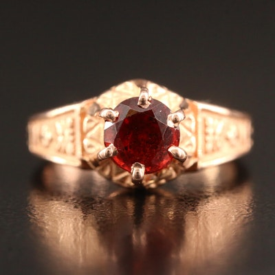 Victorian Revival 10K Rose Gold Garnet Ring