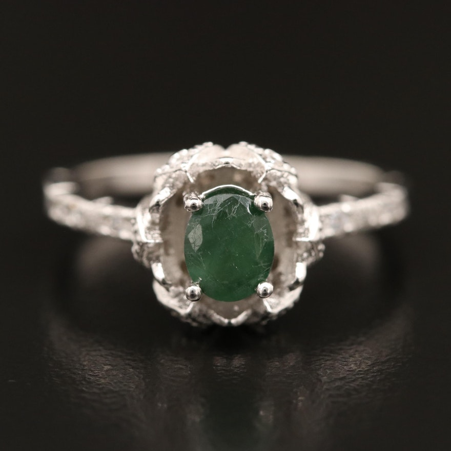 Sterling Emerald and Cubic Zirconia Ring