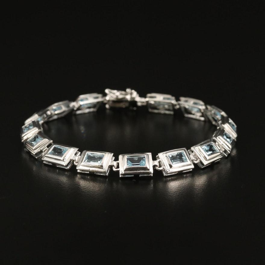 Sterling Topaz Rectangular Bezel Link Bracelet