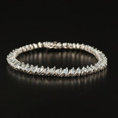 Sterling Topaz Line Bracelet