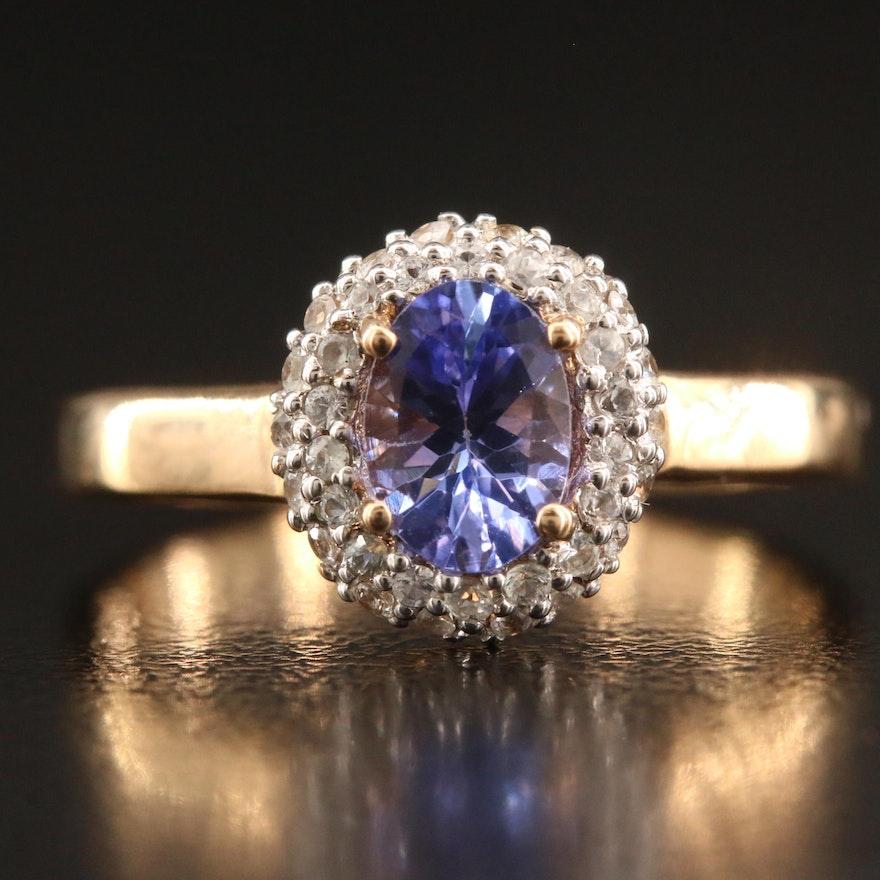 9K Tanzanite and Sapphire Ring