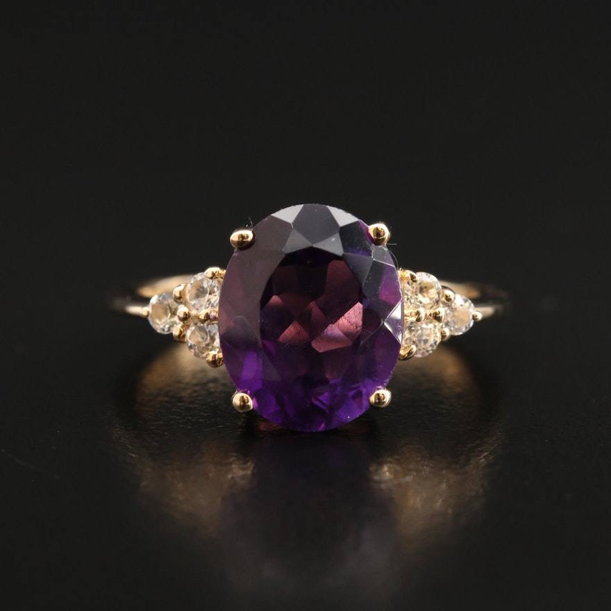 10K Amethyst and Topaz Ring