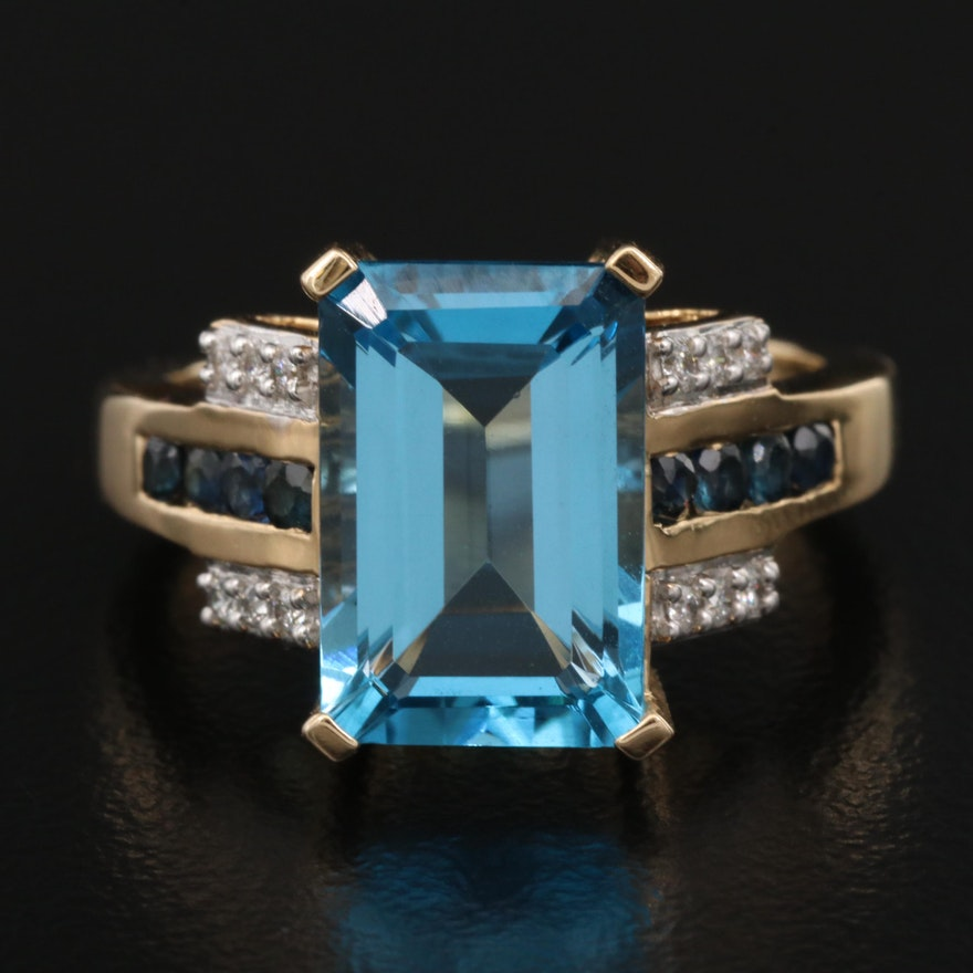 14K Topaz, Sapphire and Diamond Ring