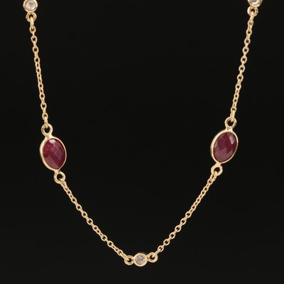 Sterling Corundum and Diamond Station Necklace