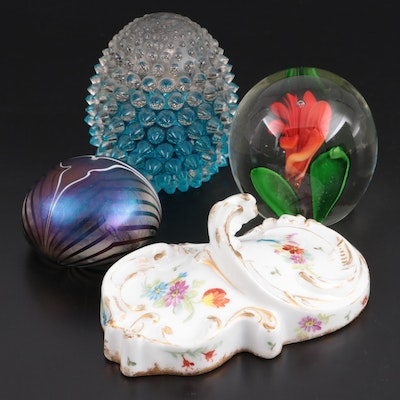 Art Glass Paperweights and Limoges Dish, Mid to Late 20th Century