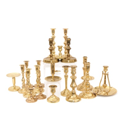 Baldwin and Other Brass Candlesticks and Candle Holders, Mid to Late 20th C.