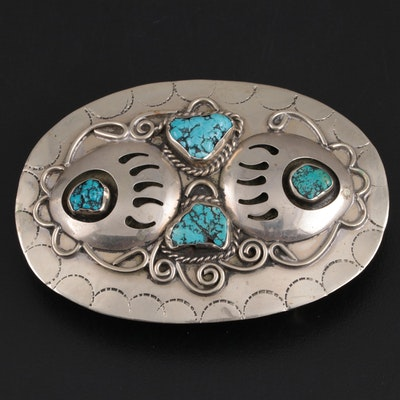 Mexican Magnesite and Base Metal Belt Buckle