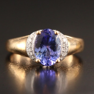 9K Tanzanite and Topaz Ring