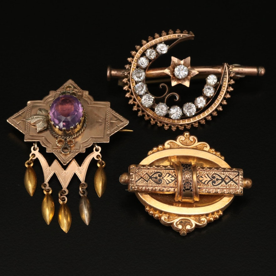 Victorian Brooches Including Taille d'Epargné
