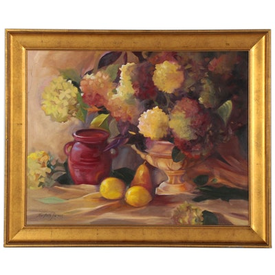 Mary Beth Karaus Oil Painting of Floral Still Life, 21st Century
