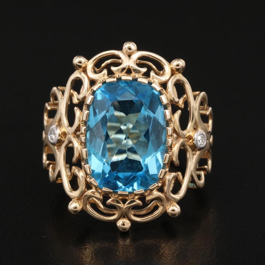 14K Topaz and Diamond Scrollwork Ring