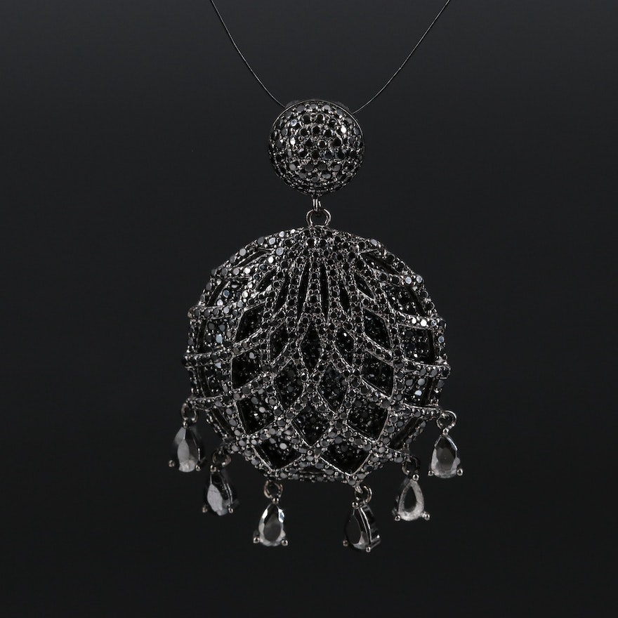 Sterling Silver Latticework Pendant with Cubic Zirconia