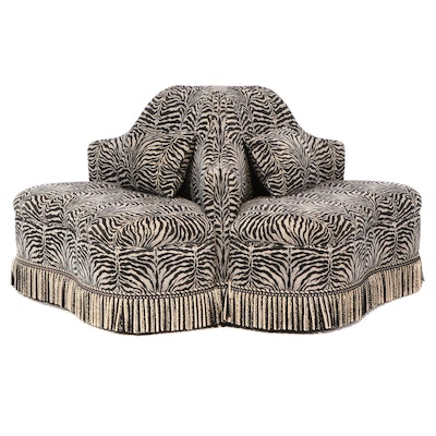 "Brunschwig and Fils ""Dennis"" Hollywood Regency Style Roundabout Settee"