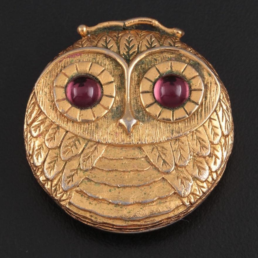 Revlon Owl Pendant Perfume Compact, Mid to Late 20th Century