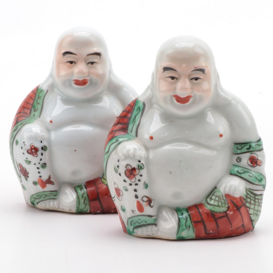 Chinese Porcelain Budai (Laughing Buddha) Figurines
