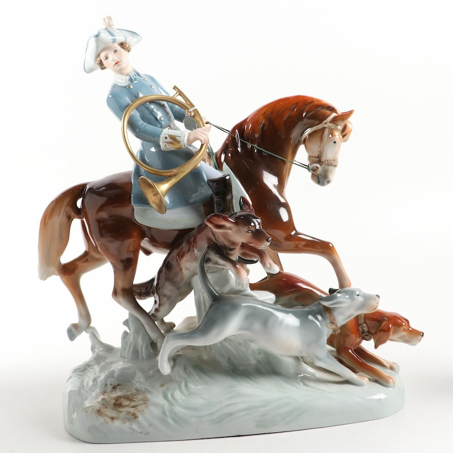 "Royal Dux Bohemia ""The Hunt"" Porcelain Figurine"
