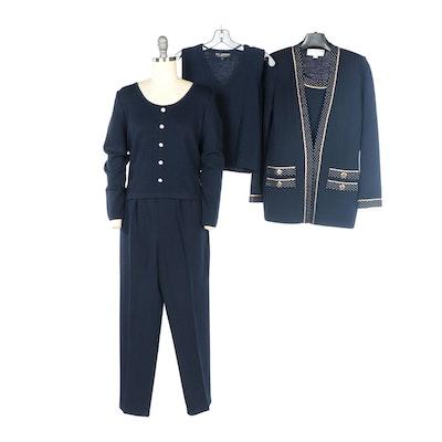 St. John Navy Santana Knit Pant Set, Navy Sleeveless Shirt, and Twin Set