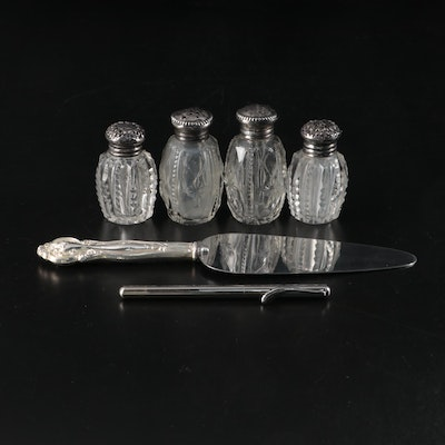 Whiting Sterling Silver Cake Server with Sterling Shakers and Anson Space Pen