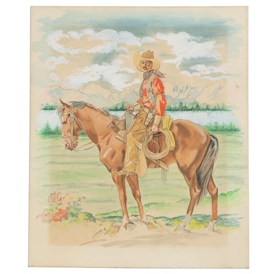 Watercolor Painting of Cowboy, 1980