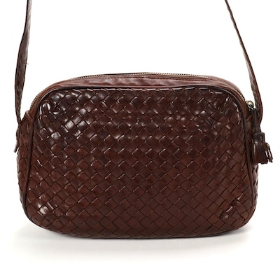 Bottega Veneta Camera Bag in Brown Intrecciato Leather