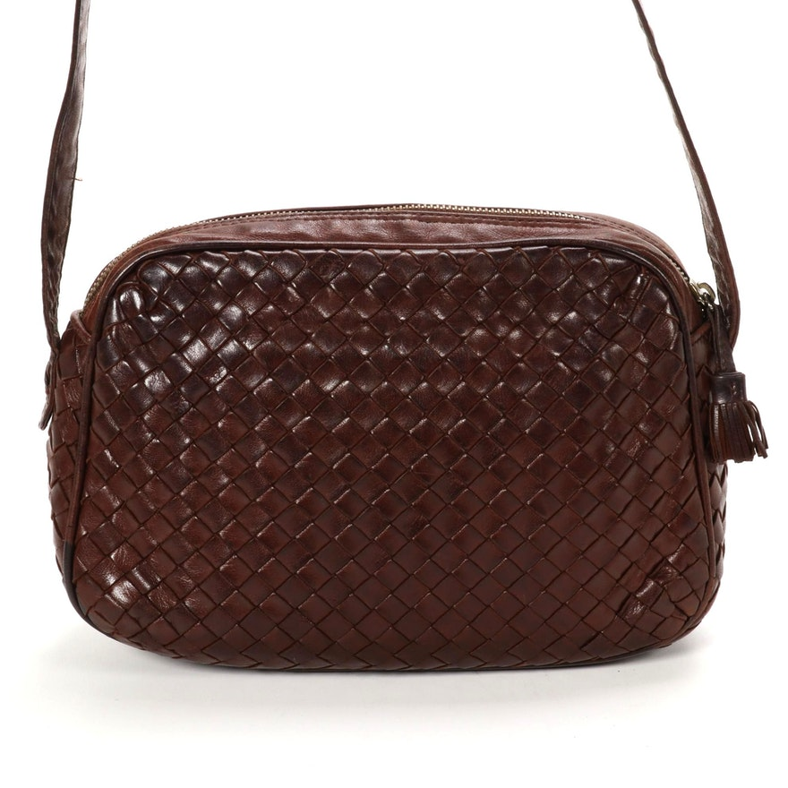 Bottega Veneta Camera Bag in Brown Intrecciato Leather