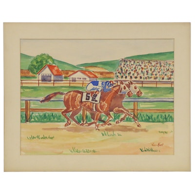 Watercolor Painting of Horse Race, Late 20th Century