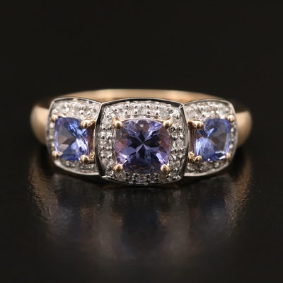 9K Tanzanite and Sapphire Ring