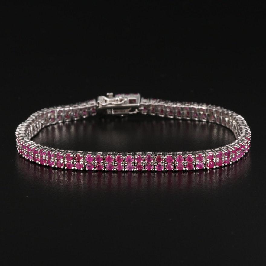 Sterling Silver Ruby Tennis Bracelet