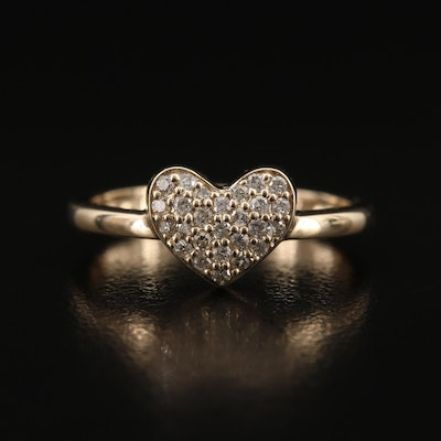 9K Diamond Heart Ring