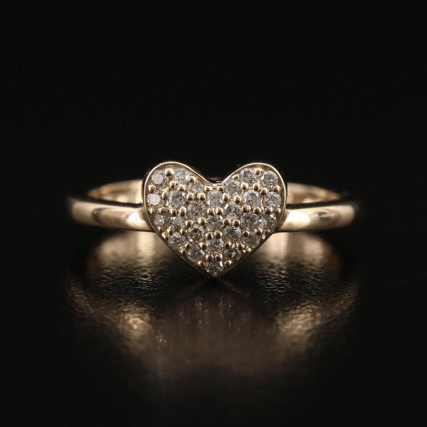 9K Diamond Heart Ring